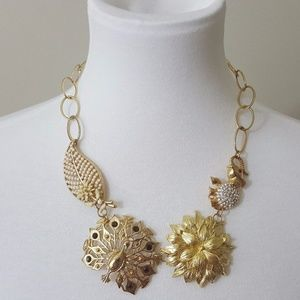 Gold Peacock& Elephant Women's Statement Necklace